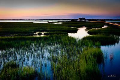 Sunset Over Marsh, Atlantic Beach, North Carolina Poster by John Pagliuca