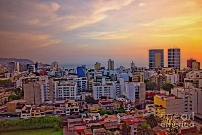Sunset Over Miraflores, Lima, Peru Poster by Mary Machare