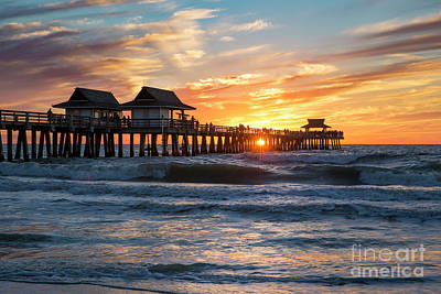 Poster featuring the photograph Sunset Over Naples Pier by Brian Jannsen