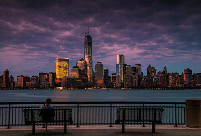 Poster featuring the photograph Sunset Over New World Trade Center New York City by Ranjay Mitra