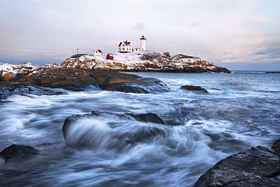 Sunset Over Nubble Light Poster by Eric Gendron