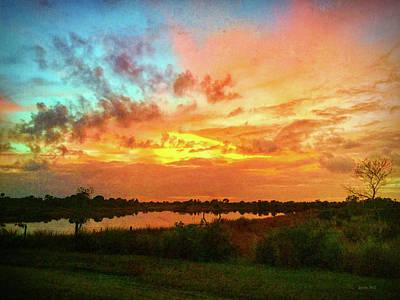 Sunset Over Pond Poster by Korrine Holt