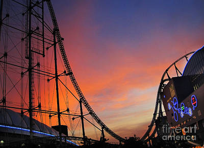Sunset Over Roller Coaster Poster by Eena Bo