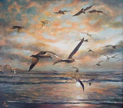 Sunset Over The Sea Poster by Vali Irina Ciobanu