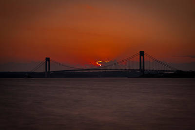 Sunset Over Staten Island Poster by David Hahn
