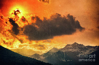 Sunset Over The Alps Poster by Silvia Ganora
