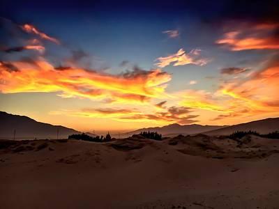 Sunset Over The Desert Poster