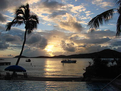 Sunset Over The Inifinity Pool At Frenchman's Cove In St. Thomas Poster by Margaret Bobb