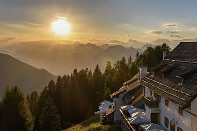 Sunset Over The Mountain Village. Monte Lussari. Poster