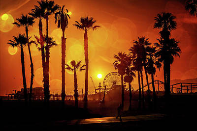 Sunset Over The Pier Poster