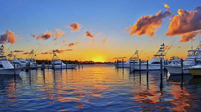 Sunset Over The Sailfish Marina In Riviera Beach Florida Poster