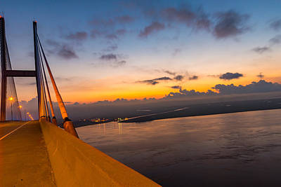 Sunset Over The Sidney Lanier Bridge Poster by Chris Bordeleau