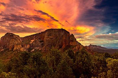 Sunset Over Timber Top Mountain Poster