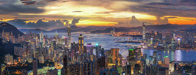 Sunset Over Victoria Harbor As Viewed Atop Victoria Peak With Ho Poster