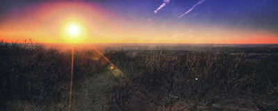 Poster featuring the photograph Sunset Over Wisconsin Treetops At Lapham Peak  by Jennifer Rondinelli Reilly - Fine Art Photography