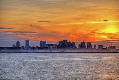 Sunset Ovet The Boston Skyline Boston Ma Poster