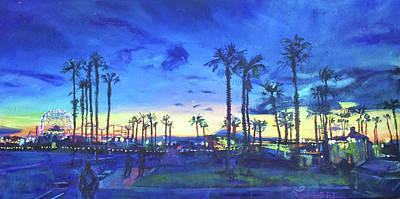 Sunset Palms Santa Monica Poster by Bonnie Lambert