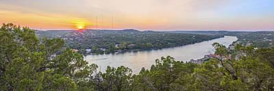 Sunset Panorama From Mount Bonnell Austin Texas Poster by Rob Greebon