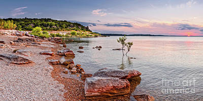 Sunset Panorama Of Canyon Lake East Shore New Braunfels Guadalupe River Texas Hill Country Poster by Silvio Ligutti