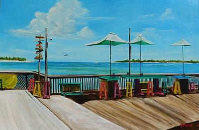 Sunset Pier Tiki Bar - Key West Florida Poster by Lloyd Dobson