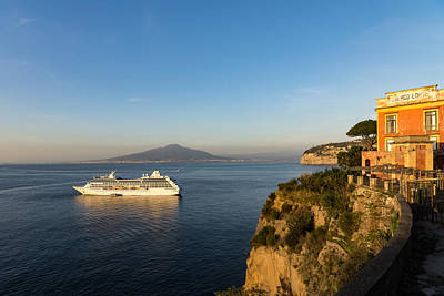 Sunset Postcard From Sorrento - The Sea The Cliffs And Vesuvius Volcano Behind The Criuse Ship Poster by Georgia Mizuleva