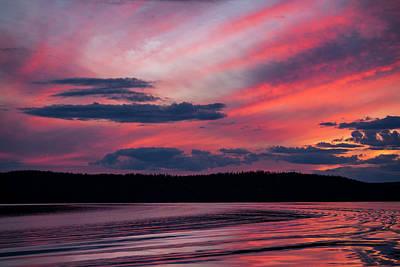 Sunset Red Lake Poster