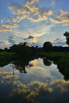 Sunset Reflected In Nippersink Creek Poster