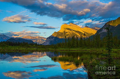 Sunset Reflections In Banff Poster