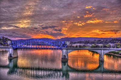 Sunset Reflections Market Street Bridge John Ross Bridge Chattanooga Tennessee Poster by Reid Callaway