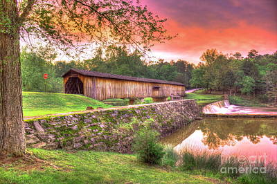 Sunset Reflections Watson Mill Covered Bridge Poster by Reid Callaway