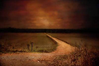 Sunset Road Landscape Art Poster