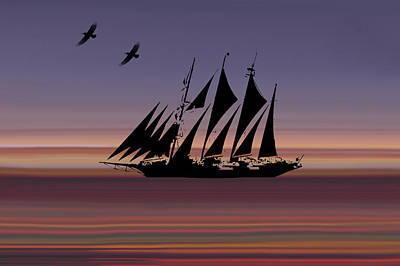 Sunset Sail Abstract Poster by Art Spectrum