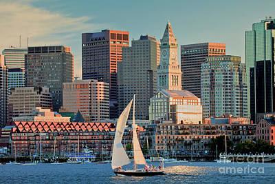 Sunset Sails On Boston Harbor Poster