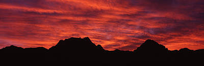 Sunset Silhouette Mountain Range Nv Usa Poster