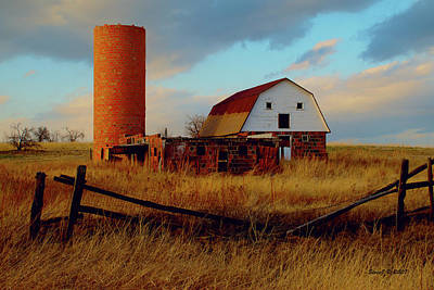 Sunset Silo Barn Poster