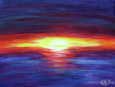 Poster featuring the painting Sunset by Sonya Nancy Capling-Bacle