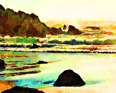 Poster featuring the painting Sunset Surf by Angela Treat Lyon
