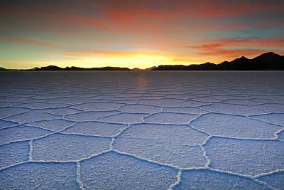 Lake Uyuni Sunset Texture Poster