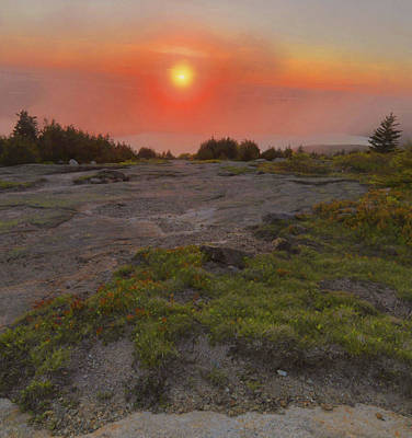Poster featuring the photograph Sunset Through Fog by Stephen  Vecchiotti