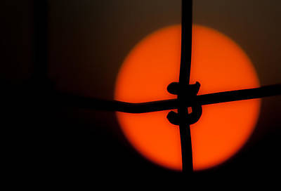 Sunset Through The Fence Poster by Mark Alder