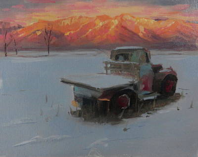 Sunset Truck In The Snow Poster by Elizabeth Jose