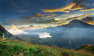 Poster featuring the photograph Sunset View From Mt Rinjani Crater by Pradeep Raja Prints