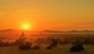 Sunset View Of Bagan Pagoda Poster