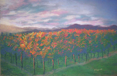 Sunset Vineyard Poster by Becky Chappell