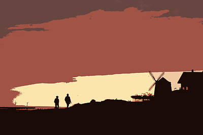 Sunset Walk With Red Sky And A Mill Poster by Mikel Martinez de Osaba