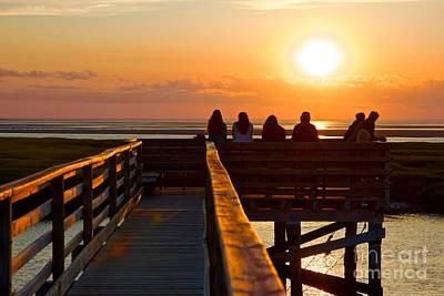 Sunset Watching At Grays Beach Boardwalk Poster by Amazing Jules