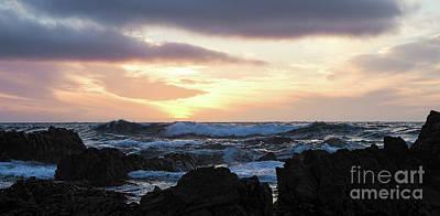 Sunset Waves, Asilomar Beach, Pacific Grove, California #30431 Poster