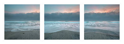 Poster featuring the photograph Sunset With Marine Layer Triptych by Alexander Kunz