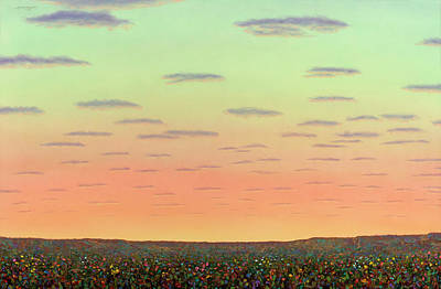 Sunset With Wildflowers Poster