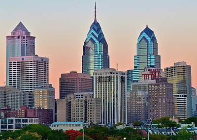 Poster featuring the photograph Sunsets Glow In Philly by Frozen in Time Fine Art Photography